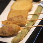 串カツ ゑびす - アスパラベーコン、丸ごとアスパラ、なすのはさみ揚げ、ささみ、じゃが芋