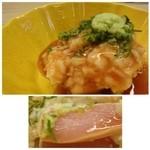 51650487 - 鶏刺し・・鶏むね肉と刻んだ山芋などを梅肉ソースで頂きますが、これ美味しい。                       鶏肉はレアに仕上げてありますので柔らかいですし、梅肉がよく合います。