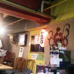 横川屋台村 下町酒場 和 - 壁面にはTVあり(カープ戦中継~絶賛放映中♫)