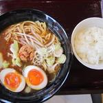 CoCo壱番屋 - 2016/5 煮たまごカレーラーメン2辛 揚げ餃子・ライスもセットです