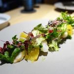 ビス トリス - スカンピと甘夏の大麦サラダ仕立て、  ホワイトバルサミコビネガーのドレッシング