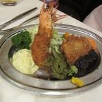 レストラン桂 - C料理 大海老フライと豚ヒレ肉カツレツ(ライス付き)1500円