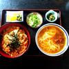 Sobadokorokanshiyuunabemitsuruan - 料理写真:玉子丼 と キンピラうどん(細麺)