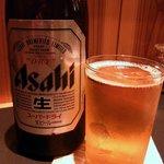 仁屋 - まずはビールからのスタートです。ここはアサヒのようです。