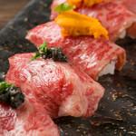 エロうま野菜と肉バル カンビーフ - 栄養満点の肉寿司をお楽しみください!