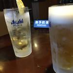 島田屋 - ビールジョッキ 中 390円 キンキンに冷えております