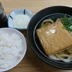 てんぼう - 朝定食(きつねうどんととろろご飯)