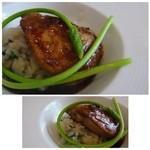 メゾン ドゥ アッシュ - 料理写真:◆フォアグラ、筍と山菜のリゾット添え(+540円)・・これ美味しい。 フォアグラ自体の質もいいですし、焼き加減も絶妙。