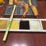 串かつ料理 活 - アスパラガス、エビ・・・