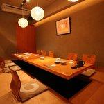 魚竹 - 最大15名様のこあがりの個室は主に中小宴会用。掘りごたつになっており、リラックスしてご利用下さい。