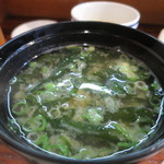 魚料理 いさり火 - わかめと青ねぎの味噌汁アップ