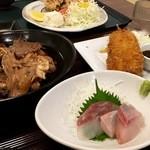 51827120 - あら煮に生鰯のフライ 、から揚げ定食(2016.06現在)