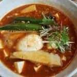 スープカレー トムトムキキル - ひき肉と豆腐の朝カレー+おくら