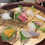寿司家天神本店 - 次は刺身の盛り合わせ,福岡ならではの新鮮なお魚の刺身、残念ながらこの日は私はちょっと体調がすぐれずアルコールは無しでした。