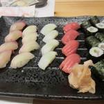 寿司家天神本店 - 最後はお店自慢の寿司の盛り合わせをいただいてこの日の楽しい食事会は終了です。