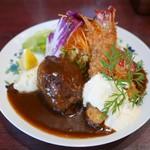 浅井食堂 - ハンバーグとエビフライ 1400円