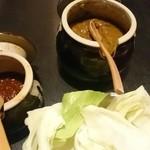 51863859 - お通しのキャベツは2種類の味噌つき
