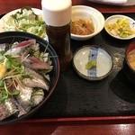 ごちそう処 きむら - 日替わりランチ「いわしの刺身定食」(税込700円)