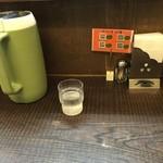 ラーメン家 みつ葉 - カウンター席(水はセルフ・紙ナプキン完備)