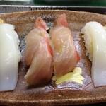鮨大吉 - 金目鯛漬け、ヤリイカ