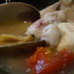 徳 - アサリとフグの白子とトマト