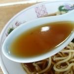 51882209 - 【2016.6.5(日)】ラーメン(並盛)450円のスープ
