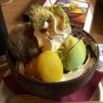 51887951 - 黒ごまアイスと抹茶プリンのkawaraパフェ。                       税込950円。                       うまし。