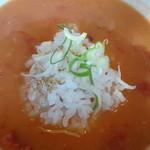 鶏白湯ラーメン 夏樹 - 残ったスープにプチライスをイン(メニューにはありませんが、オススメの食べ方)