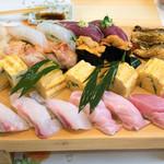 魚河岸寿司 - 2016.6 握り18貫+玉子焼き6個(松コース6,480円×2)