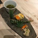 51906113 - 八寸:もずく、揚げ沢蟹、青唐入り出汁巻き、ちまき、鱧実山椒煮