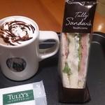 タリーズコーヒー - ドリンク写真:ココア(敢えてココア)とサンドイッチ