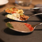 コルク - 3ヶ国の料理をイメージしたアミューズ