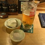 ざうお - zauo:お通しの自家製豆腐andビール