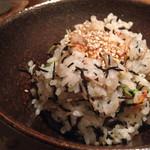 51929365 - 土鍋ご飯は、ひじきと桜海老。美味いっ。