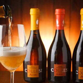 イタリア産の地ビールは瓶内2次発酵しているのでワインの様です