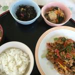 おかず厨房 - 豚肉とピーマンの味噌炒め、小鉢2種