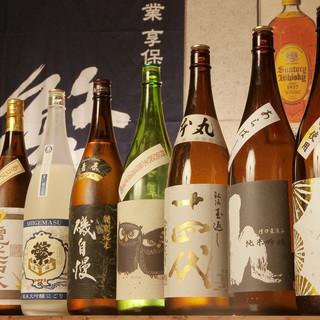 九州の地酒からレアもの日本酒や季節の生酒、焼酎多数あります