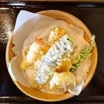 51945741 - 点ぷら(海老・キス・鶏天・野菜4種盛り)
