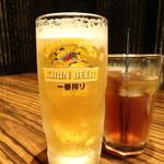 デザイナーズ個室居酒屋 地鶏坊主 - 生ビール(518円)とウーロン茶(324円)