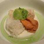 YUKIO SASAKI - フランス産ホワイトアスパラのブランマンジェウニ、毛蟹、百合根、春菊のソース