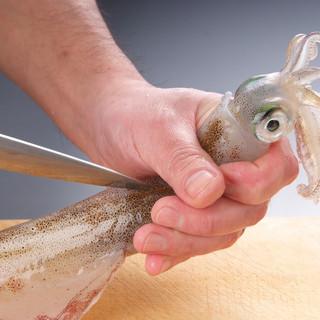 【感動!】函館より毎日直送!活イカは店の水槽から取り出します