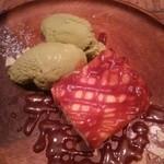 52017724 - 焦がしキャラメルの濃厚チーズケーキ 抹茶アイスカスタマイズ