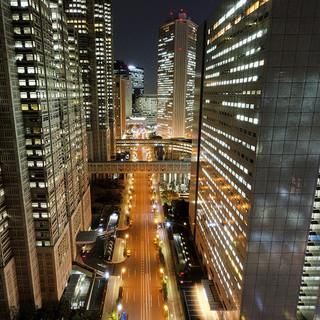 新宿の摩天楼を見下ろす