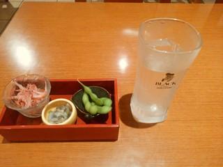 海鮮茶屋 一鮮 - 【2016.6.9(木)】季節のおつまみ3点セット+芋焼酎水割り