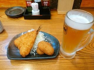 とんかつ専門店 とん豚 - 【2016.6.9(木)】アジフライ&カニクリームコロッケ+生ビール(中)