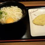 親父の製麺所 - 月見(390円)+レンコン天(ハーフ)(60円)