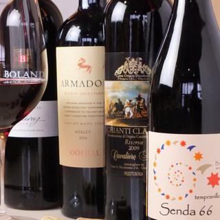 串揚げに合うワインを厳選。常時豊富にご用意しております。