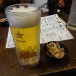 ニシキ屋 - 生ビール、お通し