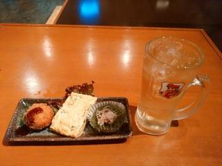 居酒屋たのじ - 【2016.6.9(木)】たのじコロッケとだし巻き玉子と旬の一品+ハイボール