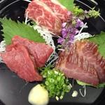 和菜 やなぎ  ふぐ はも - 馬肉刺身盛り合わせ